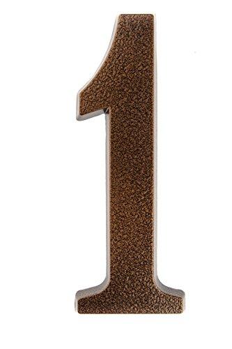 Huber Número 1 para puerta de casa, recubrimiento de polvo de aluminio, tridimensional, color cobre antiguo, 20cm
