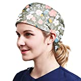 Alex Vando One Size Working Cap with Sweatband Adjustable Tie Back Hats Printed for Women,print03