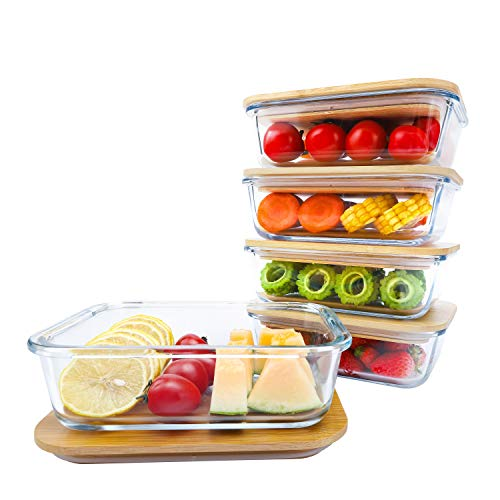 BlueHills Premium Glass Meal Prep Lunch Containers with Snap Green Lock Lids Glass Food Containers BPA-Free Oven Freezer Dishwasher Safe 5 pack set 10 pieces 36 Oz 4.5 cups (G002 Two Compartments)