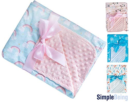 Simple Being Baby Blanket Minky Quality Soft, Double Layer Textured Dot, Double Sided Sensitive Skin for Little Girls, Toddler, and Travel Friendly (Rainbow)