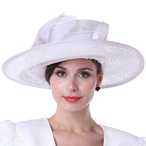 4bdfb59ff92 Kueeni Women Church Hats Outwear Outfits Hat White Wide Brim