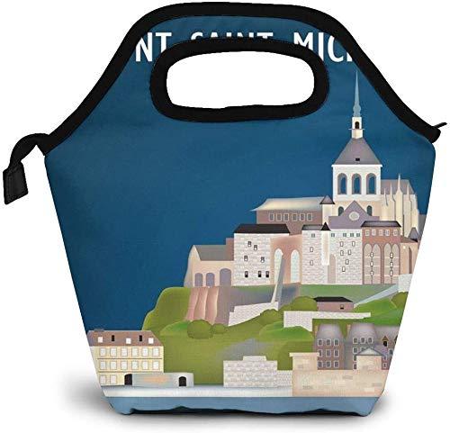 Normandy Francia Mont Saint Michel - Bolsa de almuerzo aislada con mapa de viaje, caja de picnic, enfriador portátil, bolsa de almuerzo para mujeres, niñas, hombres y niños
