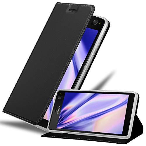 Cadorabo Hülle für Sony Xperia C4 - Hülle in SCHWARZ – Handyhülle mit Standfunktion & Kartenfach im Metallic Erscheinungsbild - Hülle Cover Schutzhülle Etui Tasche Book Klapp Style