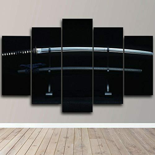 Cuadro Sobre Lienzo 5 Piezas Impresión En Lienzo Ancho: 150Cm, Altura: 100Cm Listo Para Colgar-Espada Katana Japonesa Samurai Enmarcada En Un Marco