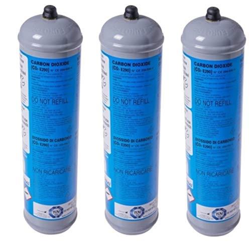 3 BOMBOLE CO2 USA E GETTA 600 Grammi E290 ALIMENTARE PER GASATORI ACQUA ATTACCO 11 x 1 DIMENSIONI.BOMBOLA DN 70 MM H 325 MM