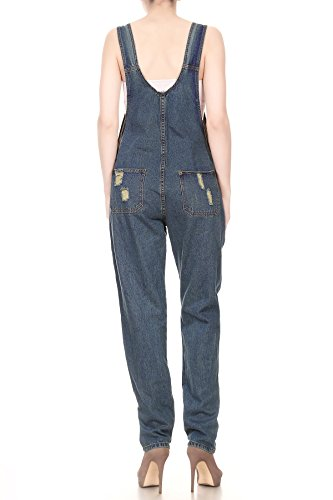 Women's Distressed Denim Overalls with Tapered Leg and Pockets 4