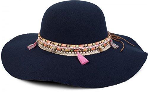 styleBREAKER Floppy Hut im coolen Boho Style mit bunter Webborte, Quaste und Muschel Anhänger, Damen 04025017, Farbe:Dunkelblau