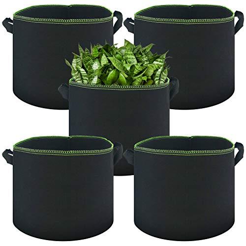 ZJW Paquete de 5 Saco para Plantas de Tela no Tejida, Bolsa para Plantas Reutilizable con Asas para Patatas, Tomates y Fresas