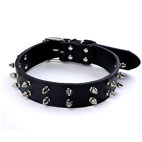 Charmsong Adjustable Black Leather Studded Rivet Dog Collar Durable Spiked for Dogs (L, Black)