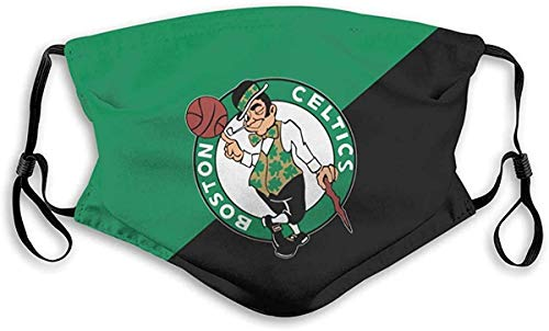 Basketball Team_Mask Face Shield for Men Kid Washable Reusable with 2 Filter Stitching Color-Boston Celtics_Team-Small