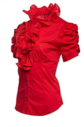 Laeticia Dreams Damen Bluse Kurzarm S M L XL XXL XXXL, Farbe:Rot;Größe:38