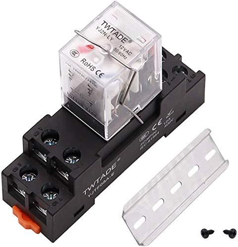 Relé de alimentación electromagnética DPDT de 8 pines (2NO 2NC) bobina indicador LED relé con YJTF08A-E hembra/carril ranura de aluminio/tornillo/gancho base YJ2N-LY-AC 12 V