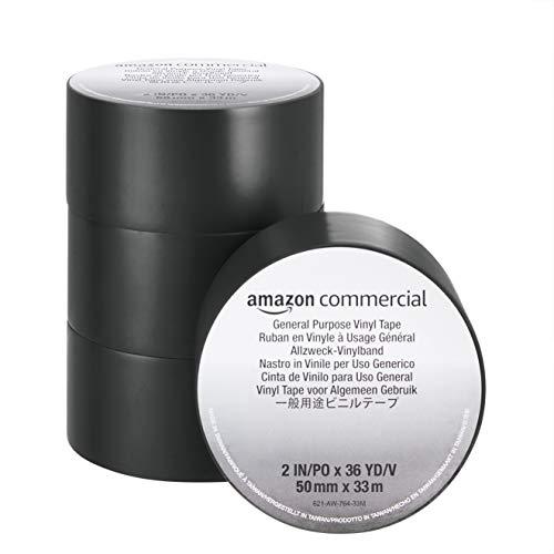 Amazon Commercial PVC Klebeband – Stark Klebend, 0.13 mm x 50 mm x 33 m, Schwarz, 4 Rollen