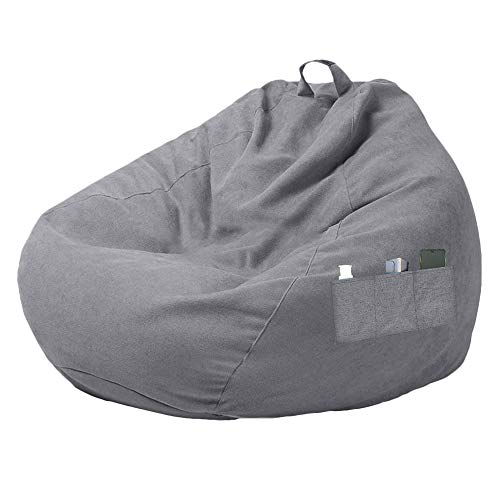 Ghopy Large Bean Bag Chair Sofa Couch Cover, Soft Corduroy Lazy Lounger High Back Stuffed Bean Bag Chair Storage Sofa Slipcover without Filler for Adults Kids (Grey-80 * 90cm)