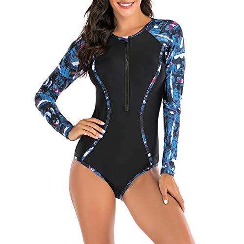 Dasongff Badeanzüge Damen Sport Beachkini Surfen Bademode Einteilige UV-Schutz Langarm Badeanzug mit Reißverschluss Farbblock Druck Monokini Strandmode Schwimmanzug