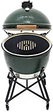 Kamado/Green Egg Style 18 Inch Griddle Grill Accessory Replaces Your Grill Grate with a Grill Grate and Griddle Combination, Solid Steel, Last a Lifetime. Made in The USA.