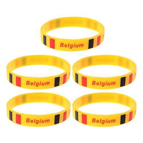 LIOOBO 5 Piezas Pulsera de Silicona con Bandera de País Caucho Único Moda Deportiva Pulsera Suministros para Juegos Banda de Mano para Juego Deportivo Raza Competitiva Partido Internacional (Bélgica)