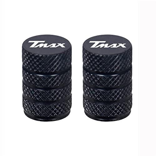 Tapas de válvulas de neumático de Rueda de Aluminio de la Motocicleta for Tmax 530 SX/DX T-MAX TMAX 500 530 560 560 Tech MAX 2019 2020 Todo el año (Color : Black)