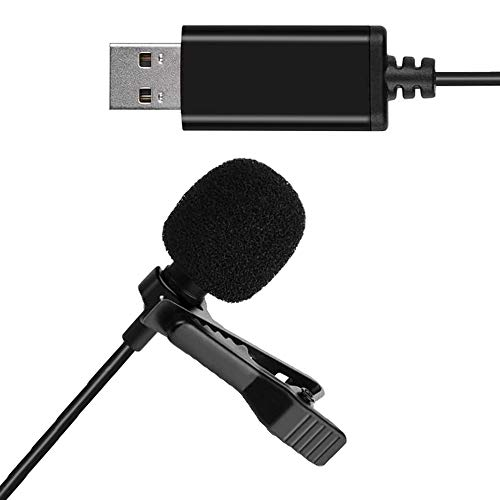 Universal Lavalier USB Microphone for Computer with USB Adapter Compatible with Laptop, Desktop, Pc and Mac,Podcasting,Vlog,YouTube Gaming, Remote Work Interview and Laptop Microphone