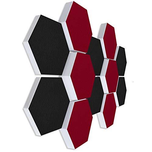 Schallabsorber 3D-Set aus Basotect G+ ® < 12 Elemente Ø30cm Wabe > Qualitäts Akustik Elemente/Oberseite SCHWARZ + BORDEAUX