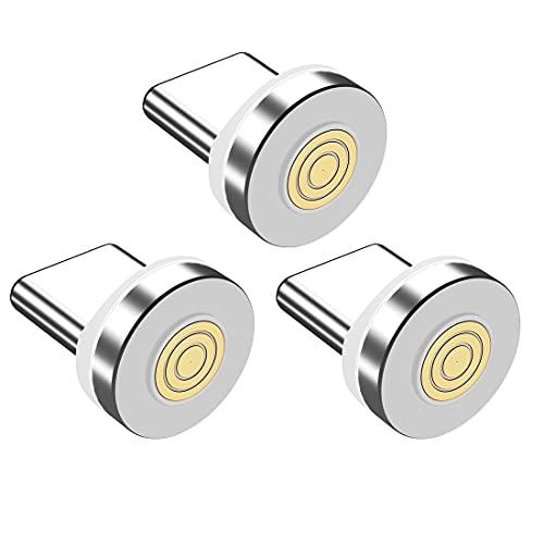 IVS 3 Adaptadores Conectores Tipo C -SOLO PUNTAS- Tips Iman Cabezal Clavija Magnetica para Cable de Carga Magnetico | Tapon Antipolvo para Movil | (3xPuntas TipoC)