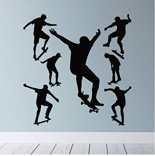 Wall Stickers,Skateboarding Home Decor For Art Wall PVC DIY Living Room Carved Custom Fashion Nursery Waterproof Self-sticking 57x58cm