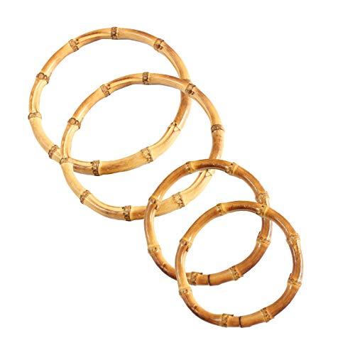 ENCOMAG 4 asas para bolso de bambú, asas para bolso de mano, color dorado claro, asas de repuesto, perfecto para artesanía DIY, asas de bolso completo, bolso (forma de O)