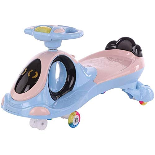 HengYue Swing Car Ride On, Twist Cars Children Twist Car Baby 1-3-6 Years Old With Music Mute Caster Swing Car Infant Skid Yo Car,Blue