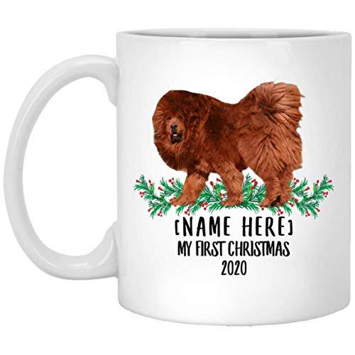 Divertido nombre personalizado mastín tibetano rojo primera Navidad 2020 taza de café blanco 11 oz
