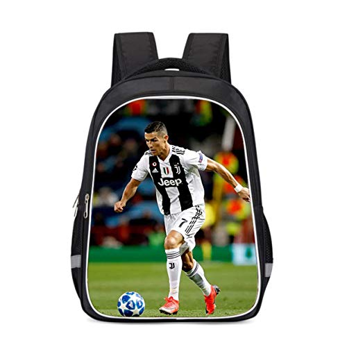 XCO-LEE Kids Teens Cristiano Ronaldo Canvas Backpack-Students Back to School Large Book Bag-Football Fans Backpack