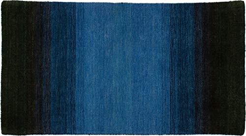 Lifetex.eu Teppich Brücke Lori Loom Rainbow ca. 90 x 160 cm Blau handgearbeitet Schurwolle Modern hochwertiger Teppich