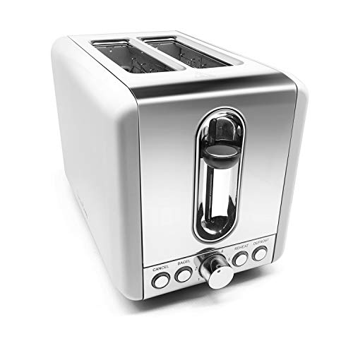 2 Slice Toaster, Fortune Candy Stainless Steel Bread Toaster with Extra Wide Slot, 6 Shade Settings, Cancel/Bagel/Defrost/Reheat Function, High-lift Toaster Boost and Slide-Out Crumb Tray, 850W, White