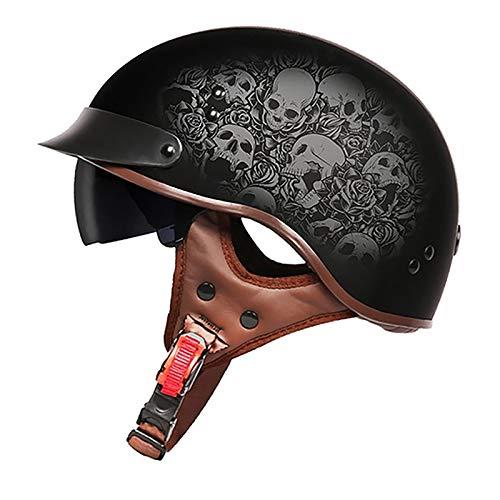 Casco de Moto,Retro Casco Moto Abierto Half Helmet,con Visera UV Protectoras Casco,ECE Homologado Cuatro Estaciones Hombres y Mujeres Cascos Half-Helmet D,L=59~60cm
