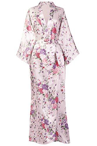 BABEYOND Damen Morgenmantel Maxi Lang Seide Satin Kimono Kleid Blütenkirsche Muster Kimono Bademantel Damen Lange Robe Blumen Schlafmantel Girl Pajama Party 135 cm Lang (Rosa)