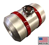8x10 Center Fill Spun Aluminum Round Gas Tank- 2 gallon- 1/2 NPT- NEW RED BRACKETS- Tractor Pull-Rat Rod- Hotrod- Gassers- Sandrail- Dune Buggy- Offroad- Made in USA