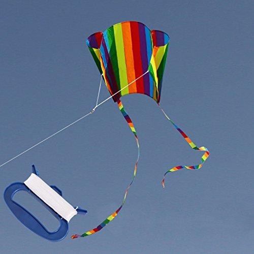 Mcbbigxw Einleiner-Drachen - Beach Kite Raibow - Einleiner Flugdrachen Für Kinder Ab 6 Jahren - Abmessung: 63×52cm - Inkl. 30m Drachenschnur Und 200cm Streifenschwänze