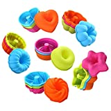 To encounter 24Pcs Silicone Molds Silicone Cupcake Baking Cups Silicone Donut Baking Pan Set Nonstick 2 3/4 inches Silicone Donut Mold Muffin Jello Bagel Pan Oven- Microwave- Dishwasher Safe