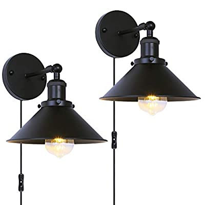 Passica 2 Pack Plug in Vintage Industrial Wall Lights Matte Black Retro Wall Sconce Adjustable Lamp Fixture Living Room Bathroom Vanity Bedroom Wall Mount Lamp