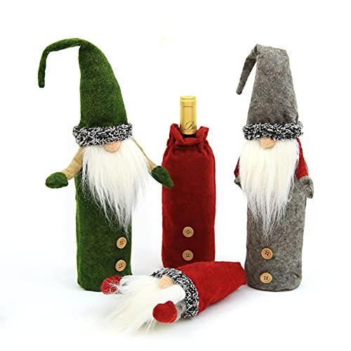 Cewaal Paquete de 3 fundas de botella de vino de Navidad, decoraciones de vestido de botella de vino, conjuntos de adornos para casa de vacaciones, suministros de decoración de fiesta de Navidad