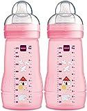 MAM Easy Active Trinkflasche im 2er-Set (270 ml), Baby Trinkflasche inklusive MAM Sauger Größe 1 aus SkinSoft Silikon, Milchflasche mit ergonomischer Form, 0+ Monate, rosa