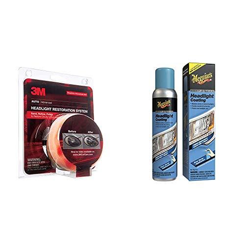 3M 39008 Heavy Duty Kit Headlight Lens Restoration System + Meguiar's G17804 Keep Clear Headlight Coating, 4 oz. – Maintain The Clarity of Your Headlights
