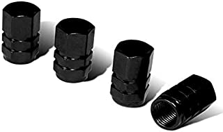 iJDMTOY (4 Tuner Racing Style Black Aluminum Tire Valve Caps (Hexagon Shape)