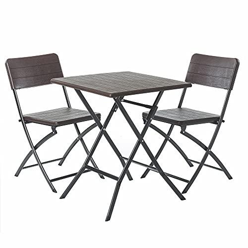 Conjunto de Mesa y 2 sillas de jardín Plegable Logic marrón de plástico HDPE y Acero - LOLAhome