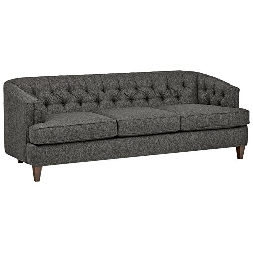 Amazon Brand – Stone & Beam Leila Tufted Velvet Living Room Sofa Couch, 88'W, Hunter Green