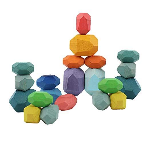 Madera Piedra de Color, Edificio niños apilamiento de Bloques Juego de Bloques del Arco Iris Juguete de Madera para Niños Niñas Coloridas 21pcs