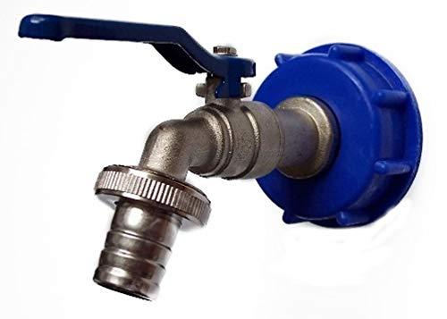 #8 Adapter mit Auslaufhahn für IBC Regenwasser Tank oder Kanister, versch. Größen (Kunststoff/Kupfer, 3/4
