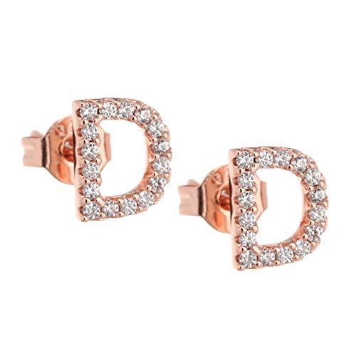 Exquisitos pendientes de letra inicial para mujer y niña, joyería con diamantes de imitación y letra inicial chapado en oro de 18 quilates