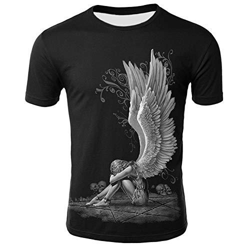DNBUIFHSD Camiseta Estampada 3D Hombres Punk O-Cuello Camiseta Negra Chica Alas posteriores...