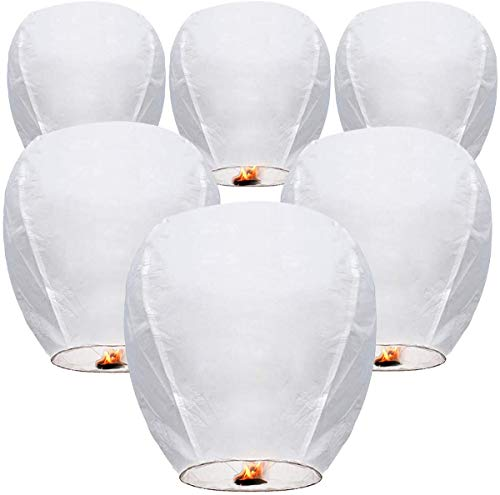 Sky Lanterns (6-Pack) Chinese Lanterns Paper Lanterns for Weddings, Birthdays, Memorials and Much More