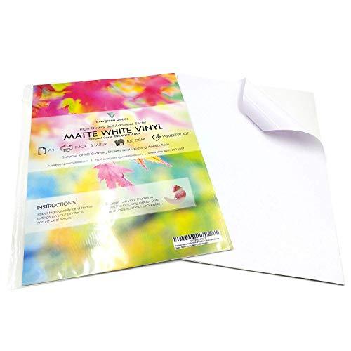 10fogli bianchi autoadesivi impermeabili, in vinile (PVC) di alta qualità, in formato A4, colore bianco opaco, compatibili con stampa laser o a getto d'inchiostro